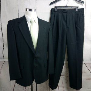 Trieste 41R 2 Button Black Herringbone Striped 2pc